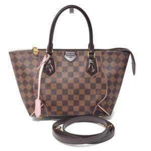 Auth Louis Vuitton Caissa PM Damier Ebene Tote Bag